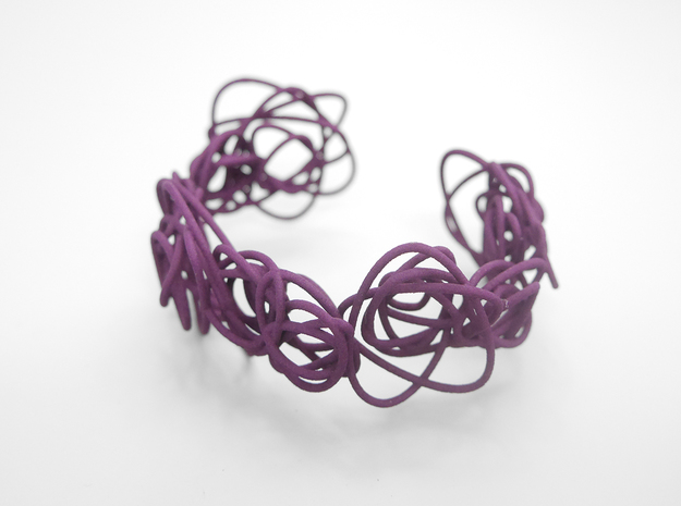 Sprouted Spirals Cuff (Messy) 3d printed Eggplant Nylon (Custom Dyed Color)