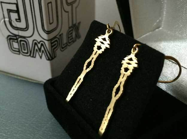 """I Love You"" Sound Wave Earrings 3d printed"