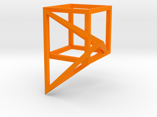 Tetrahedron built into the diagonal of a cube 3d printed