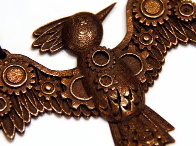 Steampunk Bird Pendant 3d printed Shown in Antique Bronze Glossy