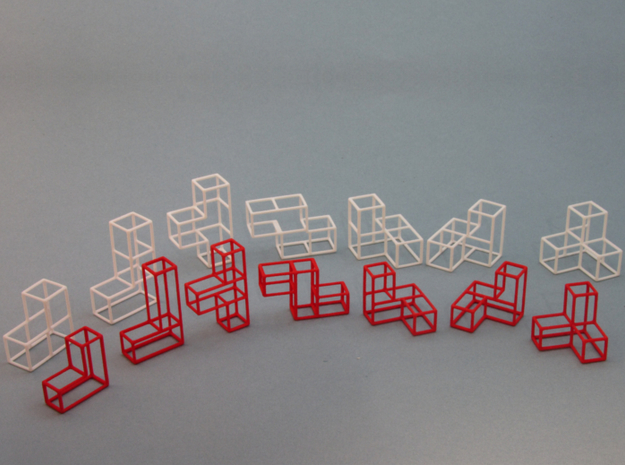 """SOMA's Revenge"" - Inner Parts Only 3d printed Inner parts in red, Outer parts in white"