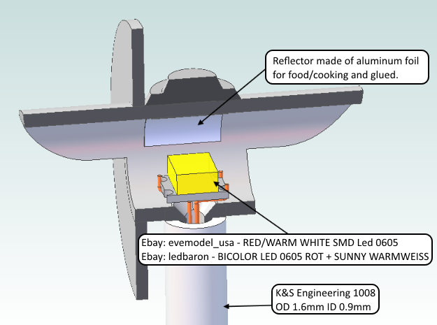 HO: R-W Signal Lamp Swe Railroad 3d printed This is a CAD view of how the LED can be mounted in this signal house.