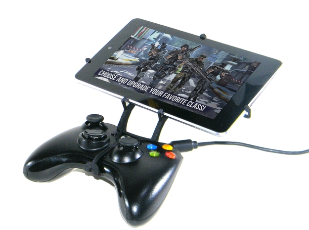 Xbox 360 controller & Samsung Galaxy Tab 3 10.1 P5 3d printed Front View - A Nexus 7 and a black Xbox 360 controller