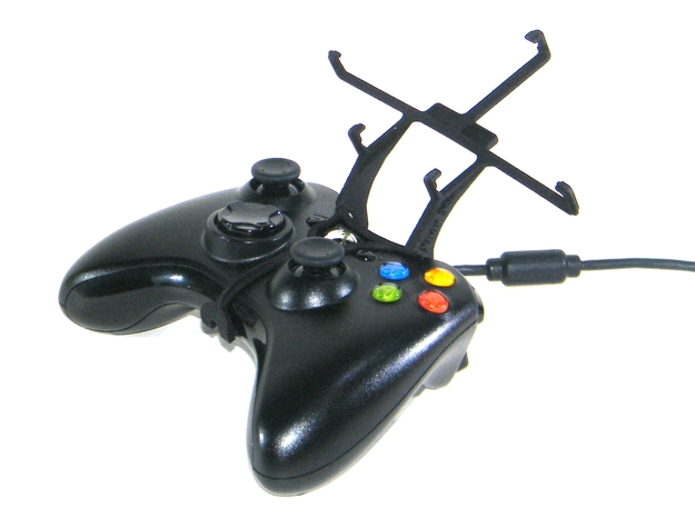 Xbox 360 controller & Sharp SH530U 3d printed Without phone - A Samsung Galaxy S3 and a black Xbox 360 controller