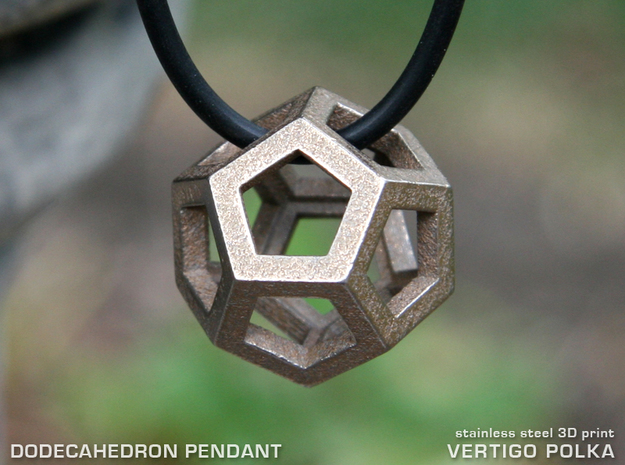 Dodecahedron 3d printed 3D Printed Dodecahedron Pendant in Stainless Steel