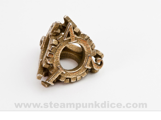 Steampunk Gear d4 3d printed Stainless Steel