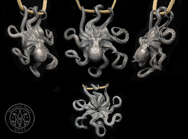 OCTOPUS Pendant 3d printed I hand polished this one after I received it to bring out the details, especially on the tentacles. I believe the Polished Grey Steel would produce similar results.