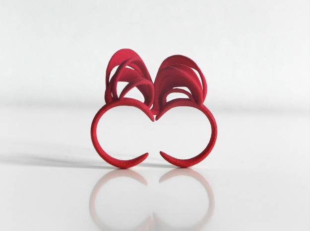 Ribbon Double Ring 8/9 3d printed Pink