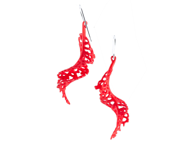 Spiral Earrings - 1 pair 3d printed in red strong and flexible