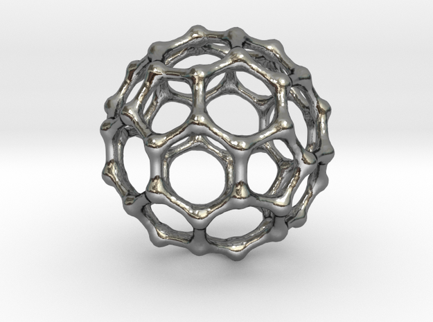 Buckyball C60 Pendant 3d printed Stainless Steel