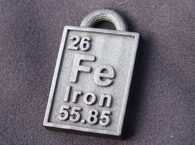 Iron Periodic Table Pendant 3d printed The Iron Pendant Printed In Steel!