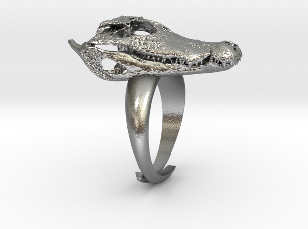 Alligator Skull Adjustable Ring 3d printed