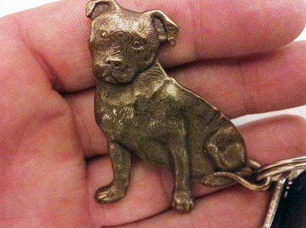 Staffordshire Bull Terrier Key Fob. 3d printed