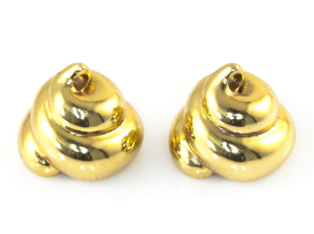Lucky Golden Poo Earrings 3d printed