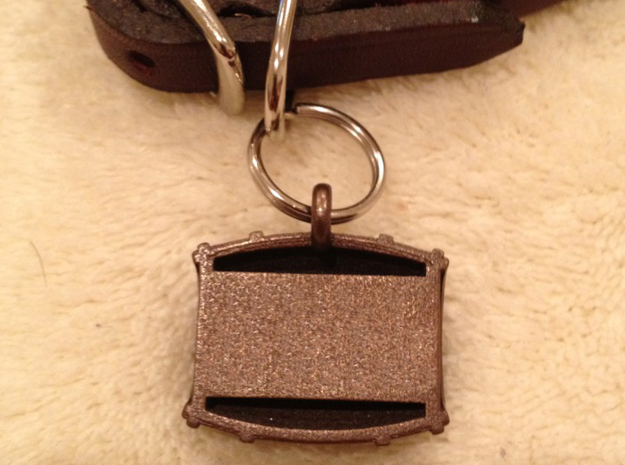 Keg / Barrel Pet Tag 3d printed Add up to 3 lines of personalized text on back (shown in optional bronze finish)