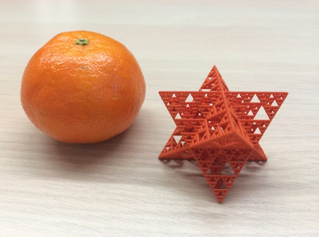Sierpinski Octostar 3.75cm 3d printed Orange Strong and Flexible Polished