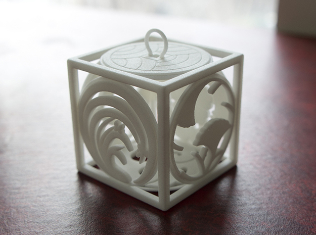 Japanese-inspired Ornament 3d printed Printed in WSF, front