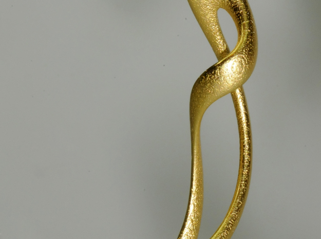 Earring: Twisted loop - 5 cm 3d printed Gold plated stainless steel print