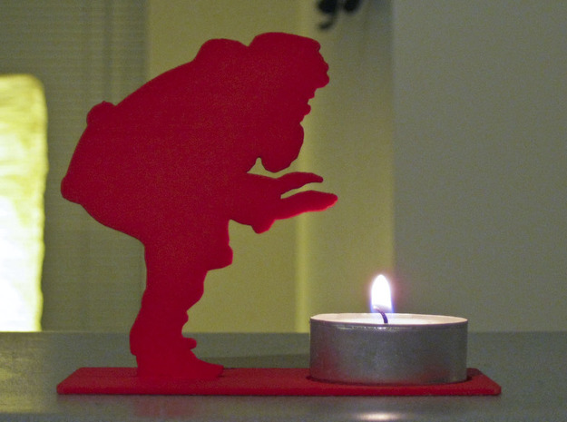Santa Handwarmer Tea Light Holder 3d printed Shown in Coral Red Strong & Flexible