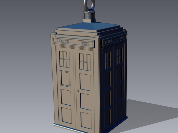 TARDIS Earring (or small pendant) 3d printed