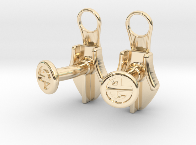 Zipper Cufflinks 3d printed
