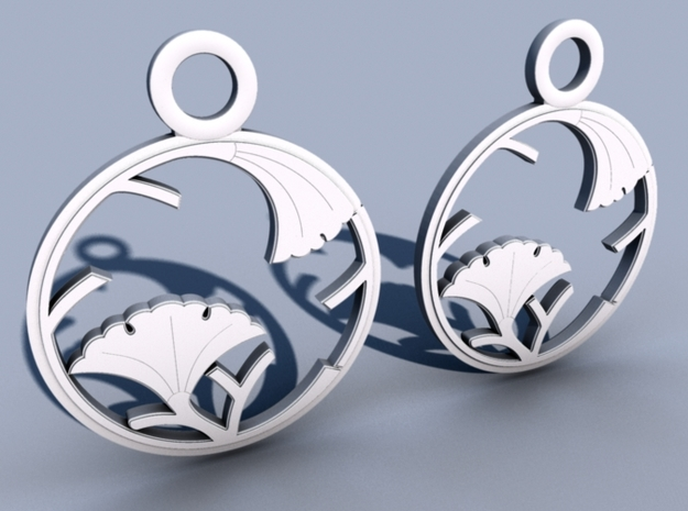 Japanese Crest Earrings 3d printed Mental ray render - new design