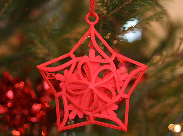 Captured Snowflake - Christmas Ornament 3d printed Shown in the 'Coral Red Strong and Flexible Polished' material