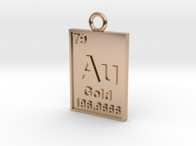 Gold Periodic Table Pendant 3d printed