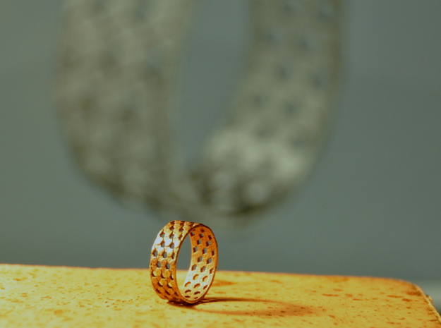 Parquet Deformation Ring (57mm) 3d printed Stainless steel