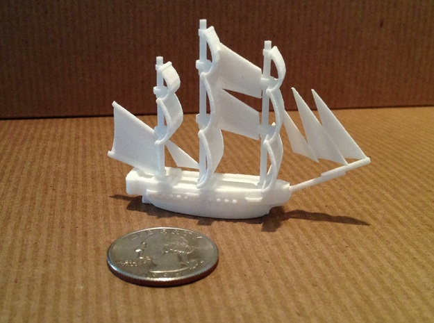 HMS Surprise ~1/1000 scale 3d printed With quarter to show scale