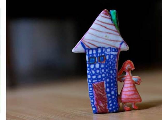 Girl & House 3d printed Figurines from Children's Drawings