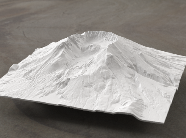 6'' Mt. St. Helens Terrain Model, Washington, USA 3d printed Radiance rendering