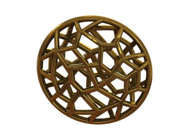 Cell Pendant Mini 3d printed Gold (rendered)