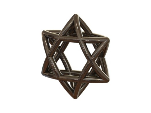 "Star Of David Pendant 3d printed ""Star of david"" Silver (renderen)"