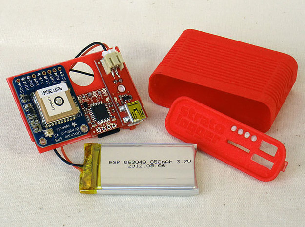 GPS logger case 3d printed assembled