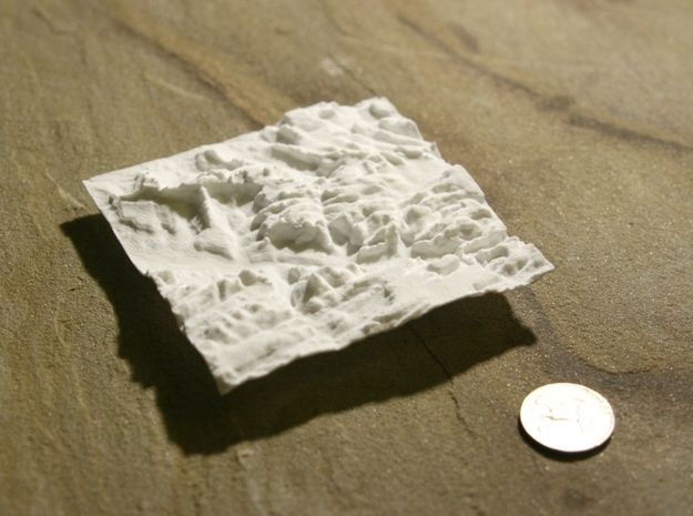 4'' Zion National Park Terrain Model, Utah, USA 3d printed Photo with US quarter