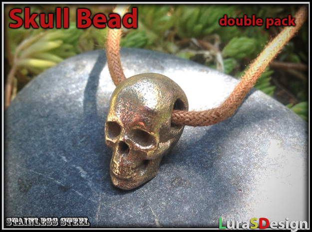 Human Skull Bead - double pack 3d printed stainless steel print