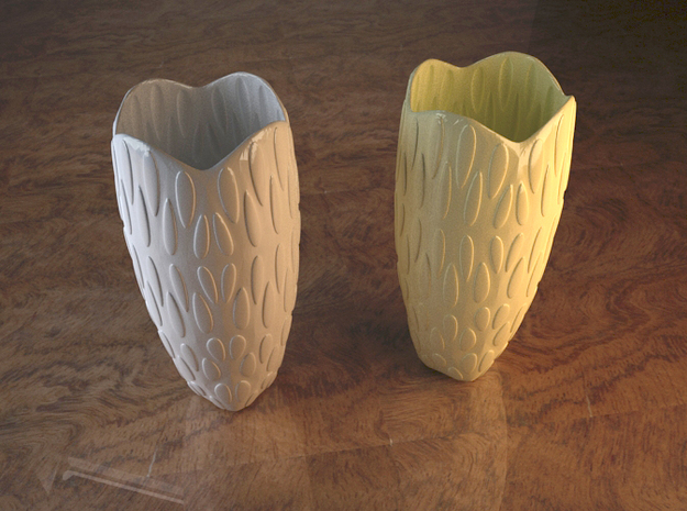 Decorated Vase - Drops 3d printed shown in 2 different ceramic colorings