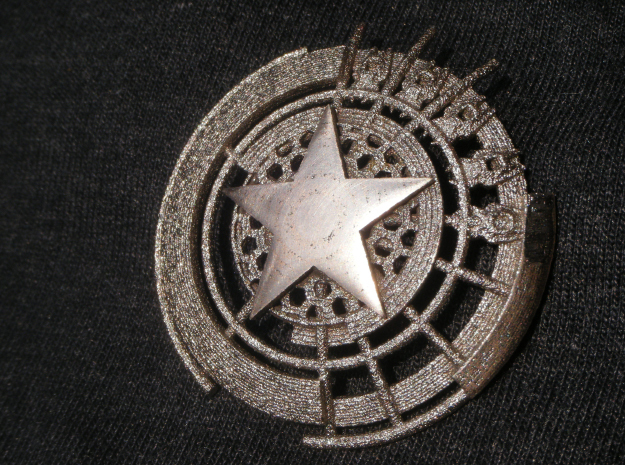 Captain America Shield: Prototype 3d printed Stainless Steel with Sanded Star