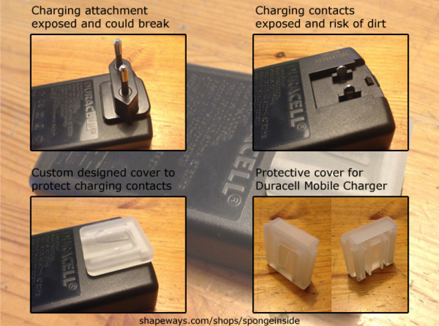Duracell travel charger cap 3d printed Overview