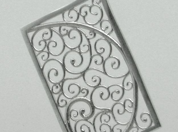 Silver Filigree Rectangle Pendant 3d printed