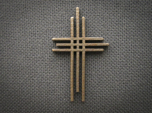 Cross Pendant 3d printed Shown in Polished Bronze Steel