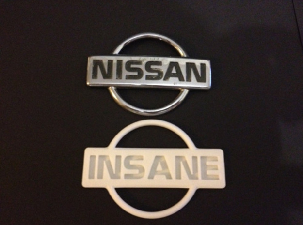 Nissan Insane Badge thinner version 2 3d printed Shown Next to 200sx s13 badge
