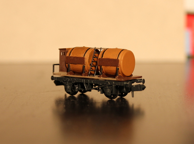 n-scale wine wagon 3d printed with Peco NR-123 chassis