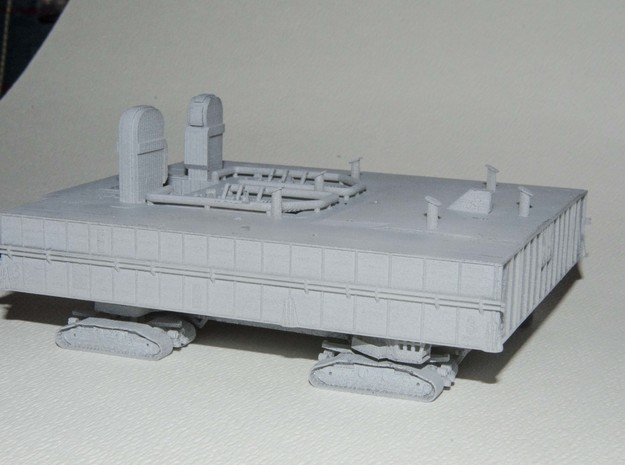 1/400 Shuttle MLP & Crawler, launch pad 3d printed A three-quarter view showing the deck details. Primer-grey finish.