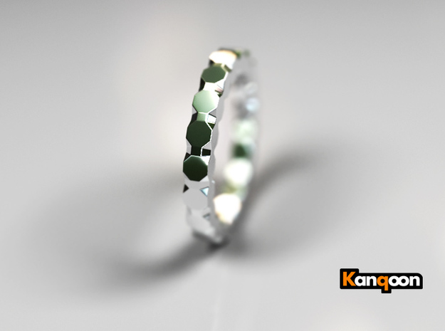 Kaethe - Ring - US 6¾ - 17.12mm 3d printed Polished Silver PREVIEW