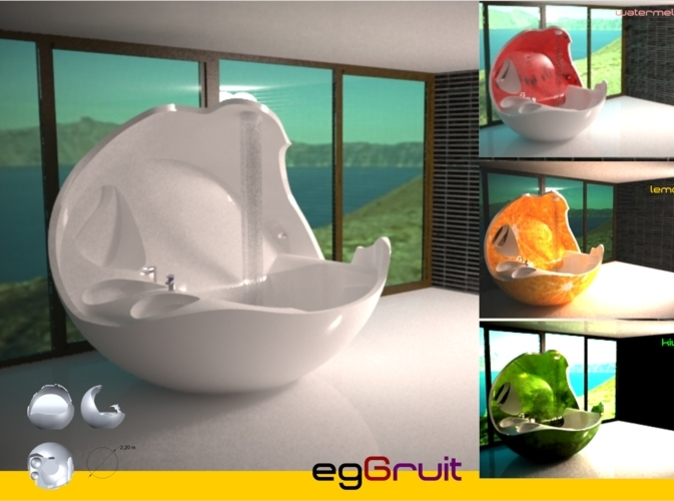 egGruit is a mixture of egg and fruit. This piece of forniture is a bathtub, shower and sink; you can get the miniEggruit