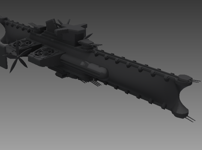 The LLK as she appears in flight.  Note that the guns are made to scale in this rendering, but I had to make them much thicker in the STL file in order to be printed at 1/1000 scale.