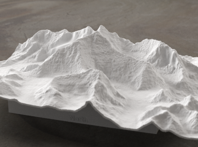 Radiance rendering of Everest massif model from the North