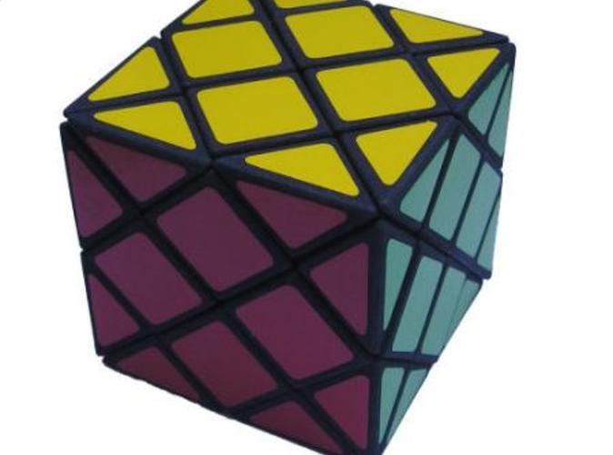 The Dino Skewb puzzle in its solved state
